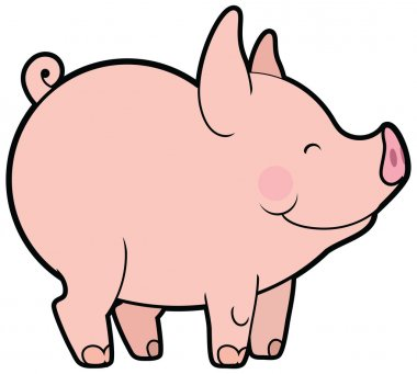 Cute vector little pig