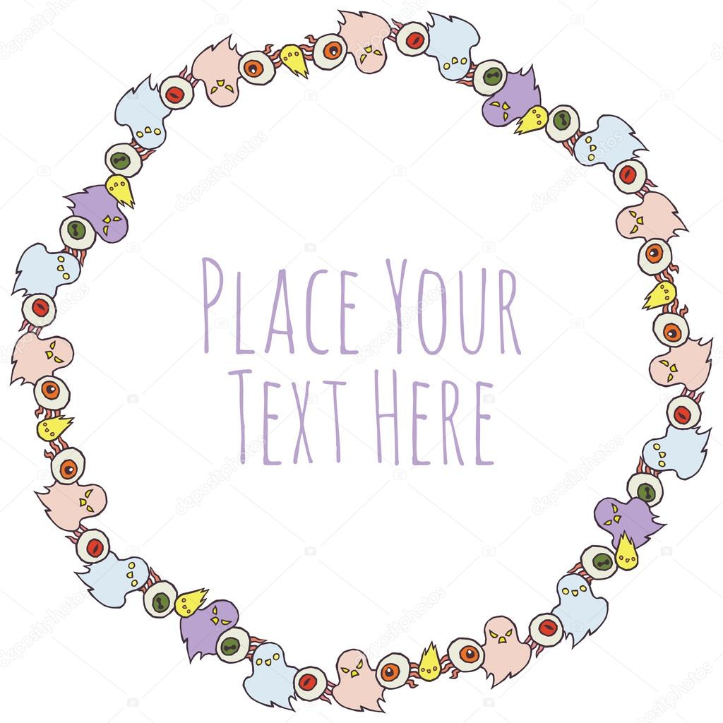 Vector Round Frame With Ghosts And Evil Eye Stock Vector