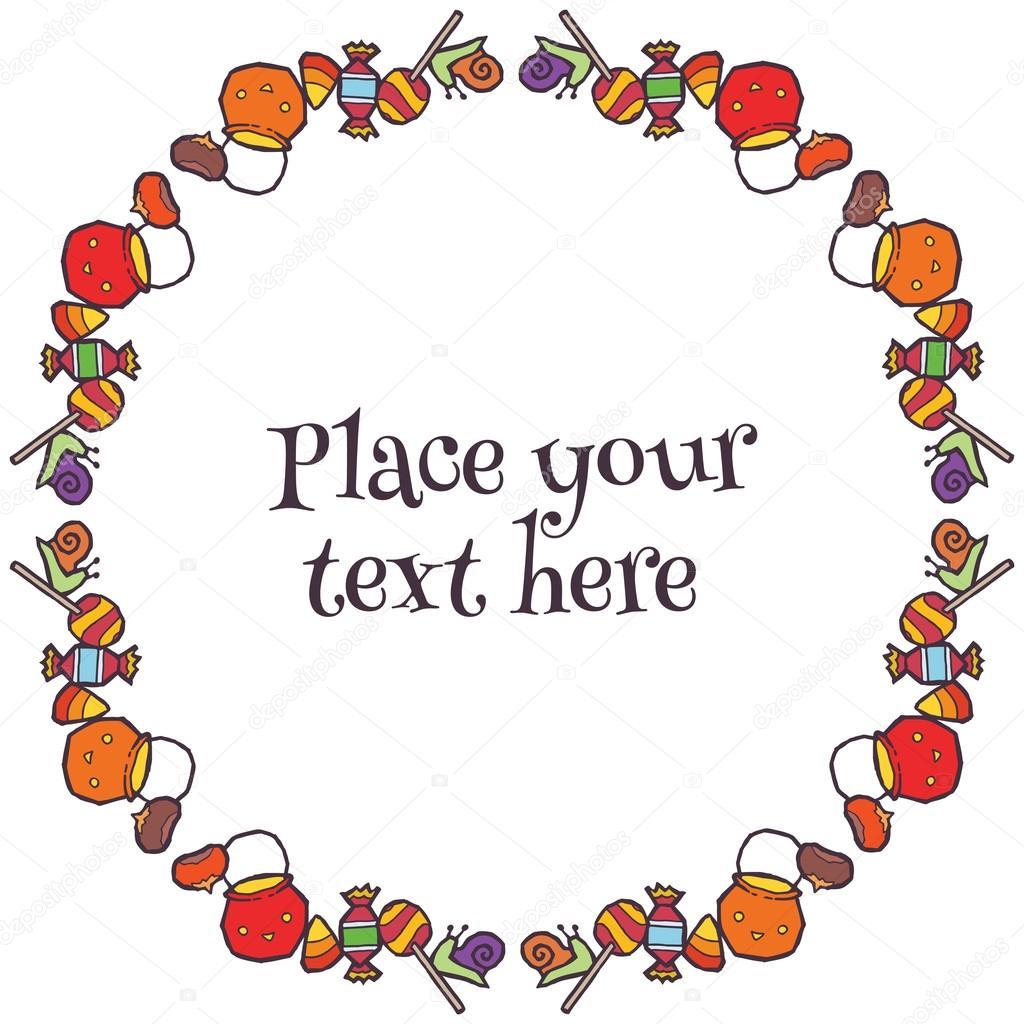 Vector marco redondo con dulces de halloween — Archivo Imágenes ...