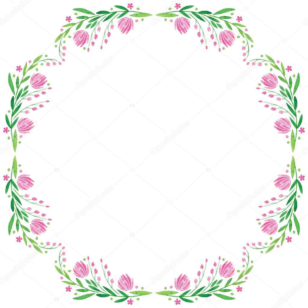 vector de acuarela redondo marco - flor rosa grande con hojas ...