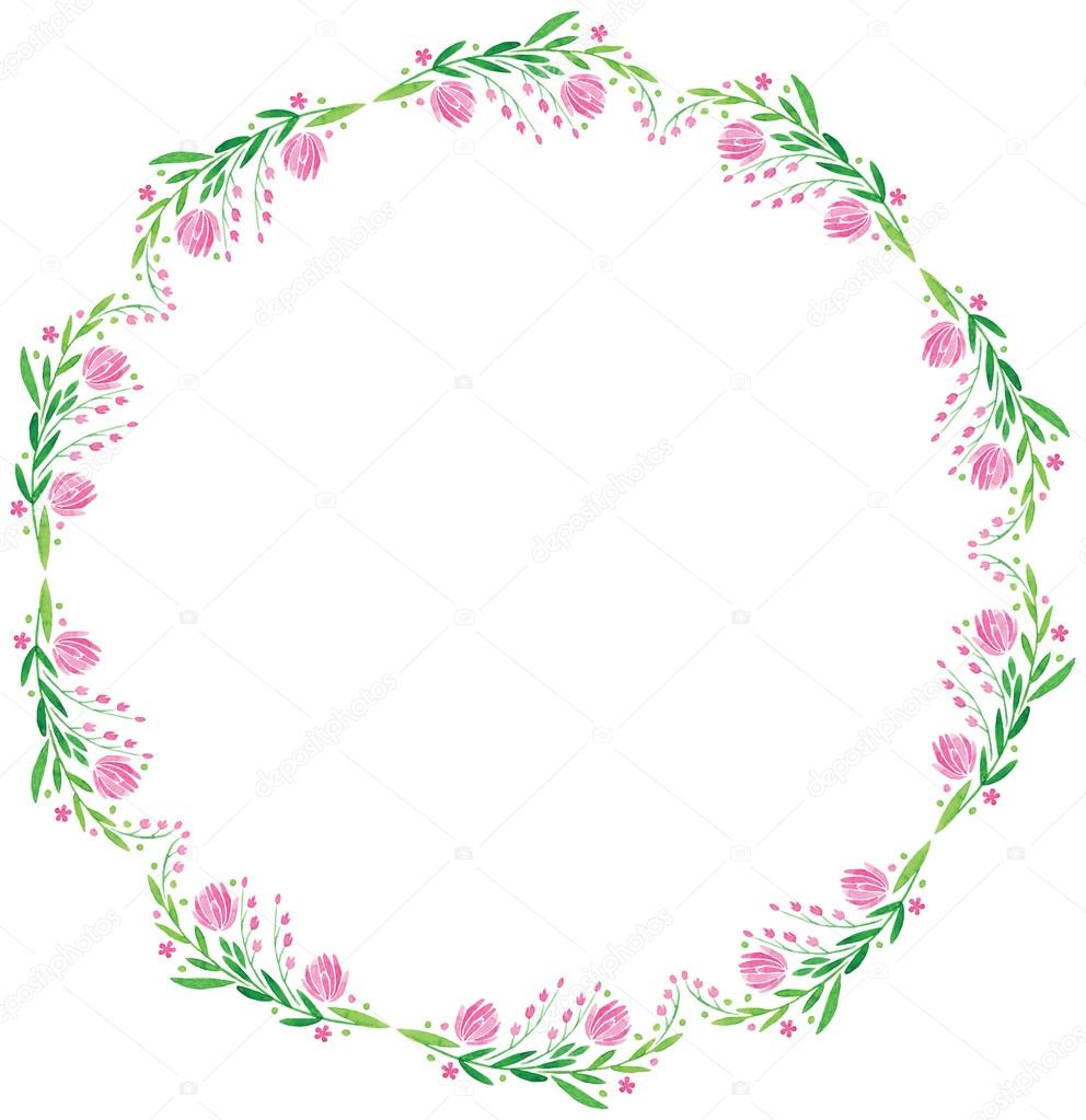 watercolor vector round frame - big pink flower with leaves — Stock ...