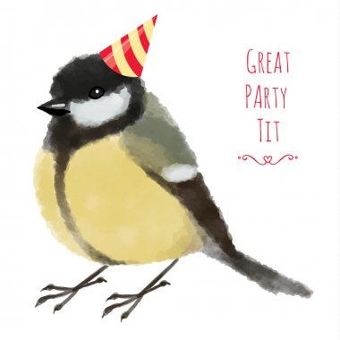 Watercolor illustration tit or titmouse in birthday hat