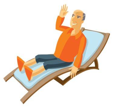 happy elderly man lying on the sun lounger