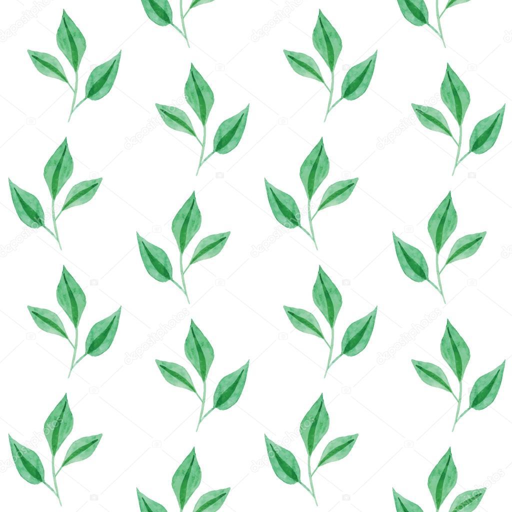 Gentle seamless pattern of green leaves