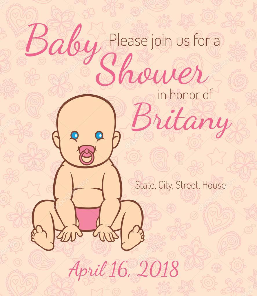 Szablon Zaproszenia Karty Baby Shower Grafika Wektorowa