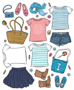 woman's summer clothes and accessories