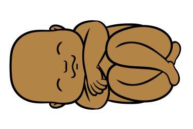 Newborn little sleeping afro baby