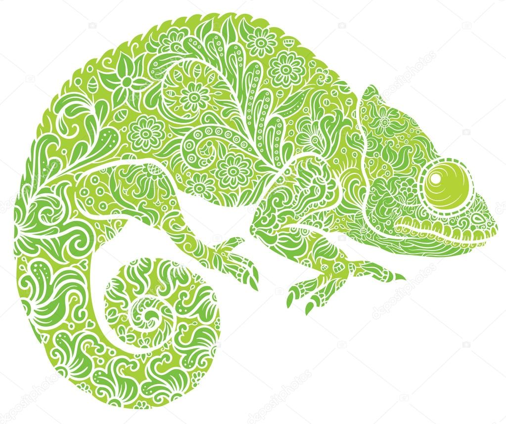 Zentangle Stylized Multi Coloured Chameleon Hand Drawn Reptile Vector Illustration In Doodle Style For Tattoo Or Print By AnnaSuchkova