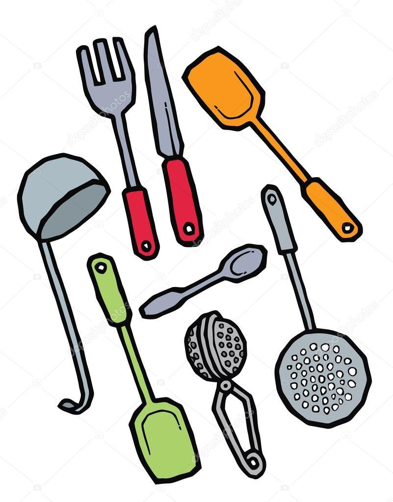 Conjunto de utensilios de cocina dibujo mano archivo for Imagenes de utensilios de cocina