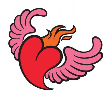 Burning flame heart with wings