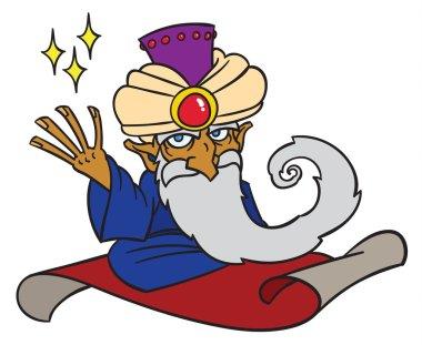 Cartoon Magician on magic carpet