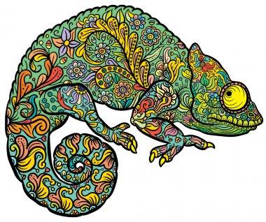 Zentangle stylized multi coloured Chameleon