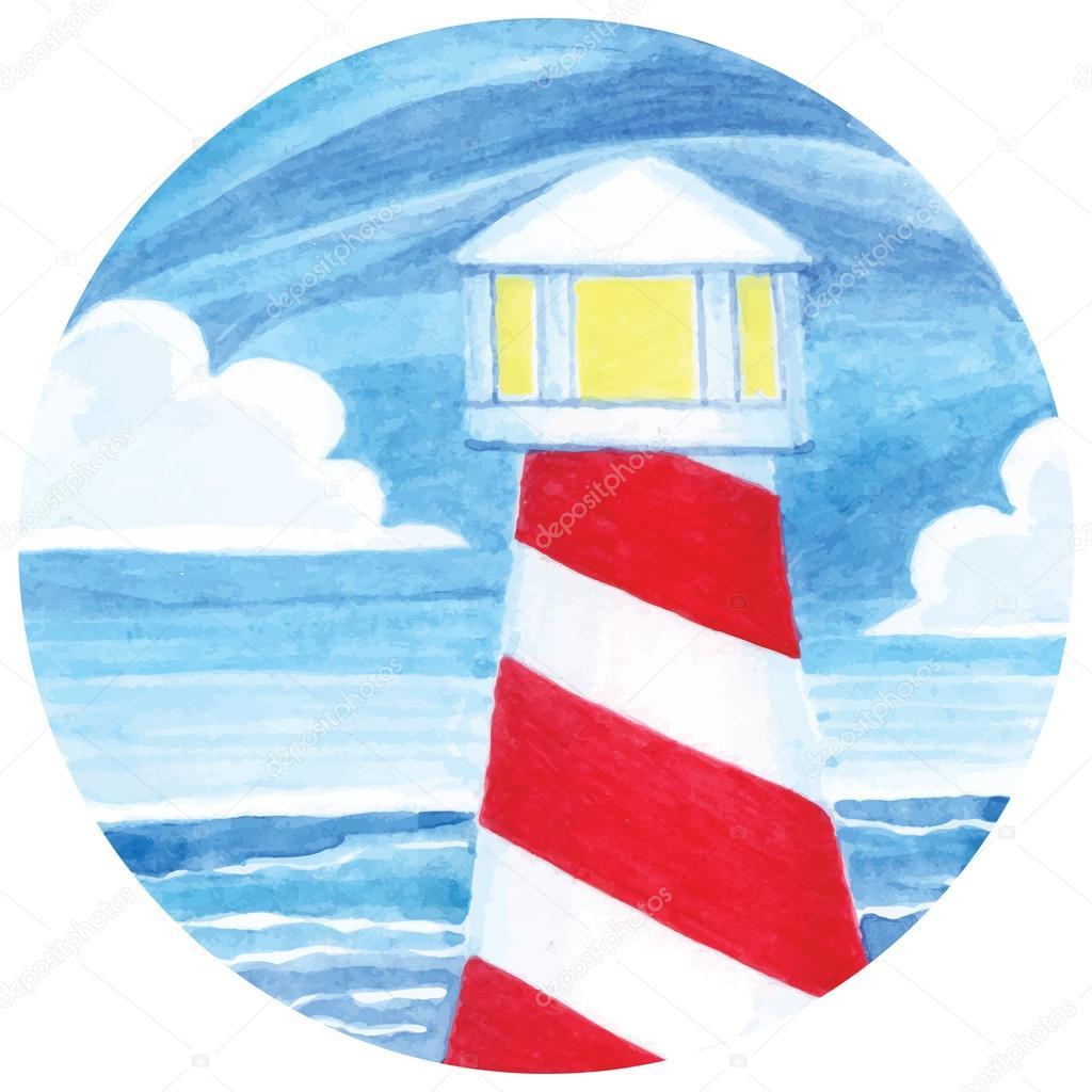 Watercolor Illustration Of Lighthouse Stock Vector
