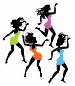tančící dívky siluety