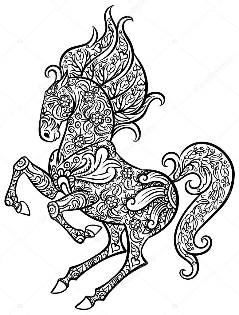 Zentangle ornate horse