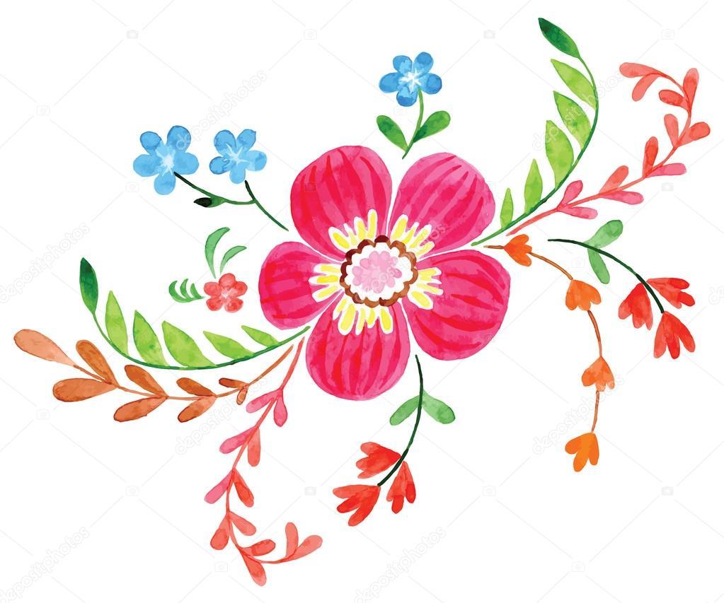 Dibujos Flores Pintadas Flores Pintadas En Acuarela Vector De