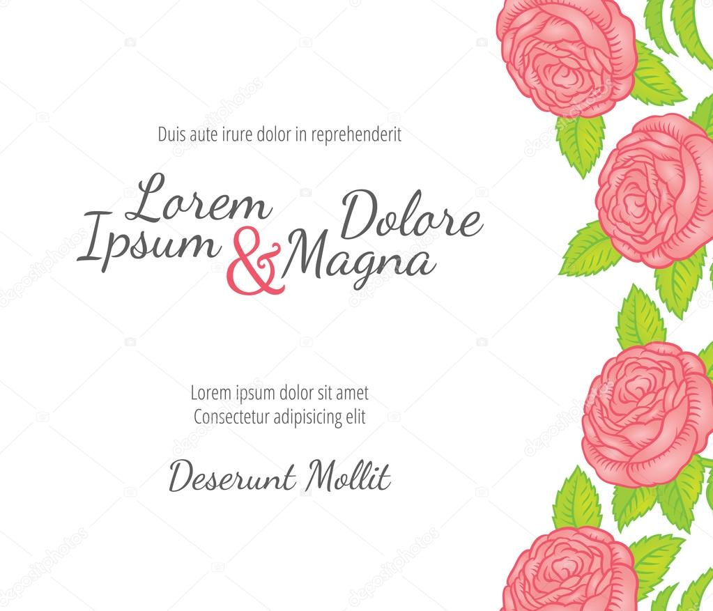Wedding card with roses in a retro style