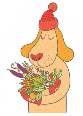 dog in cap and mittens holding bouquet