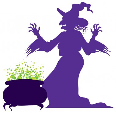 Silhouette of the old scary witch with magic cauldron, vector stock vector