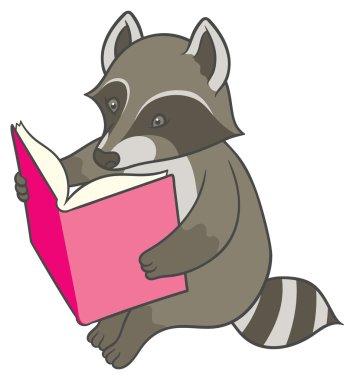 Cartoon raccoon reading a big book