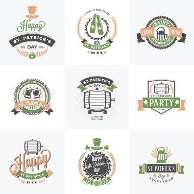 Set of St. Patricks Day Retro Holiday Badges. Vector Greetings Card Design. Saint Patricks Day Background. Happy Saint Patricks Day