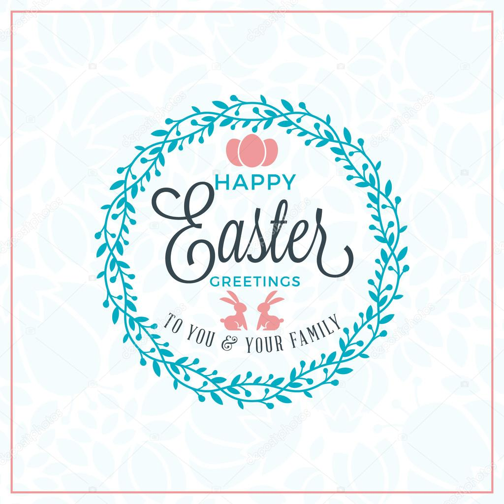 Happy Easter Vector Vintage Holiday Badge Vector Template For
