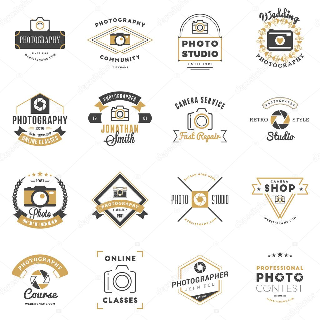 Wedding Photography Studio Logo: Set Of Photography Logo Design Templates. Photography