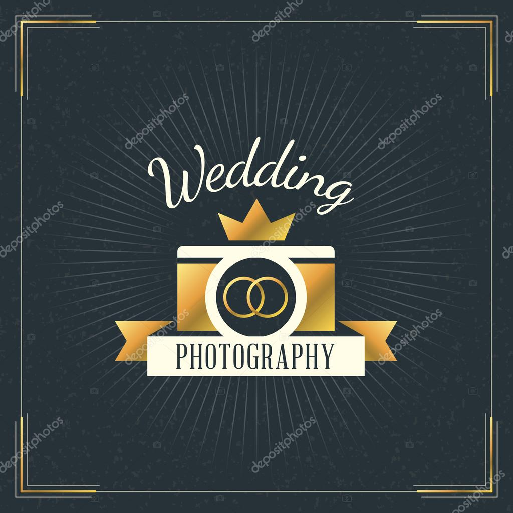 Wedding Photography Studio Logo: Photography Logo Design Template. Photography Retro Golden