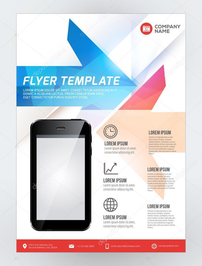 Vektor Flyer Design Template für Mobile Anwendung oder neue ...