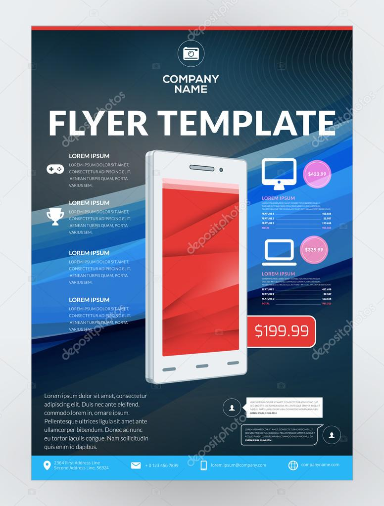 Vector business flyer design template for mobile application or new vector business flyer design template for mobile application or new smartphone vector brochure design layout friedricerecipe Images