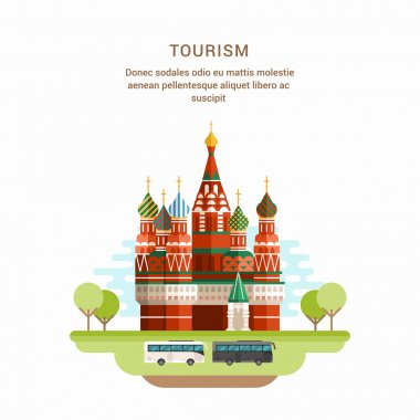 Tourism Concept Flat Style Vector Illustration. Saint Basils Cathedral. Church in Red Square in Moscow, Russia