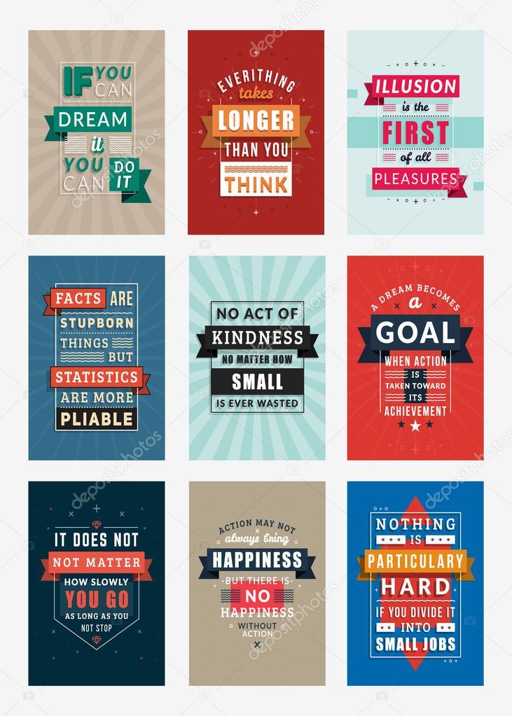 Satz von inspirierende und motivierende Zitate typografische Plakate ...