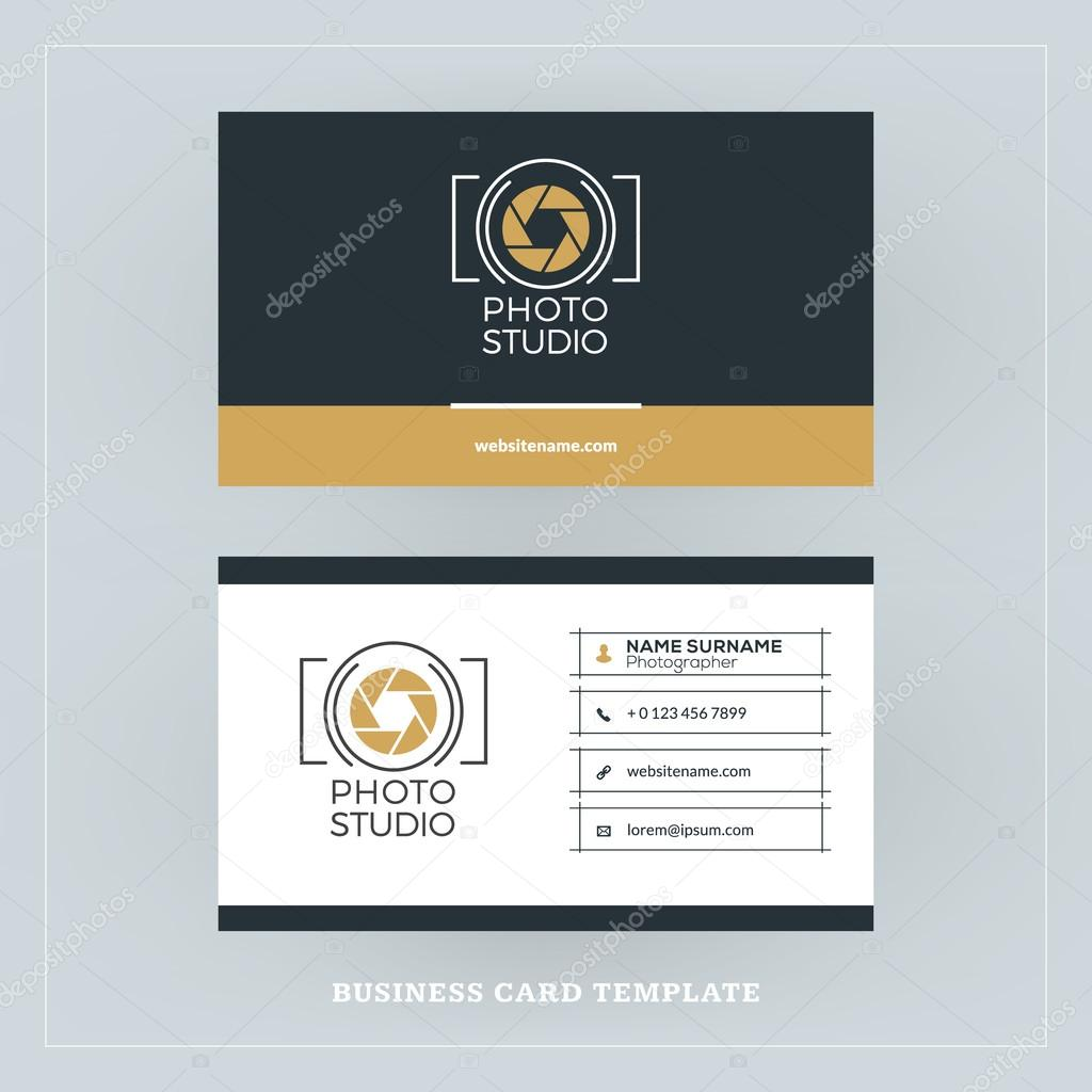 Golden and Black Business Card Design Template. Business Card for ...