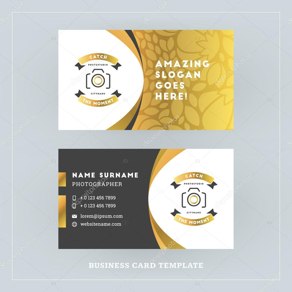 Golden And Black Business Card Design Template Business Card For