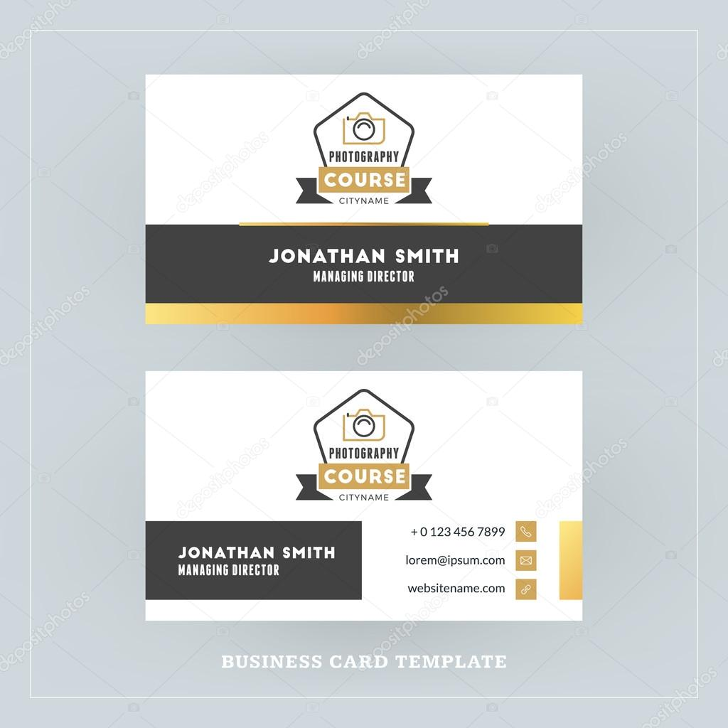 Golden and black business card design template business card for golden and black business card design template business card for photographer or graphic designer photo studio logotype template vector illustration reheart Choice Image