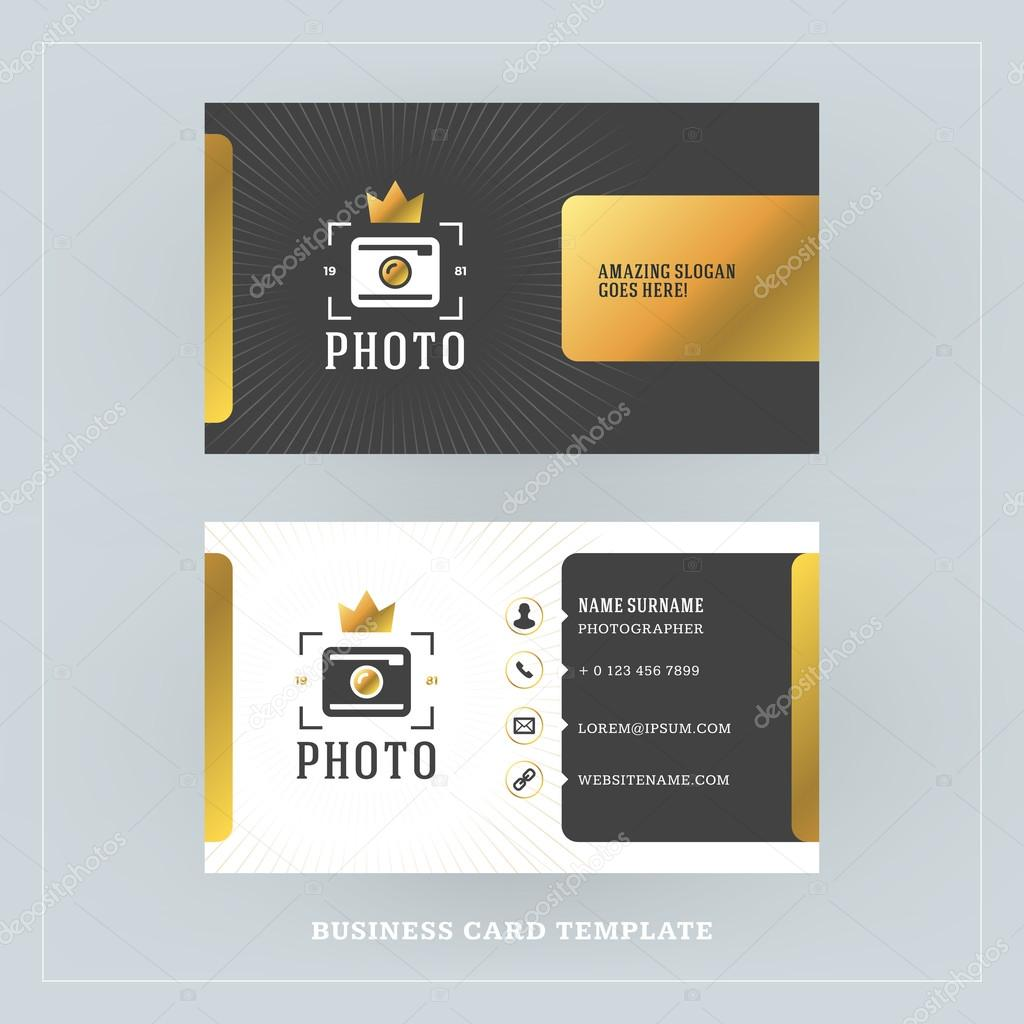 Golden and black business card design template business card for golden and black business card design template business card for photographer or graphic designer photo studio logotype template vector illustration reheart Images