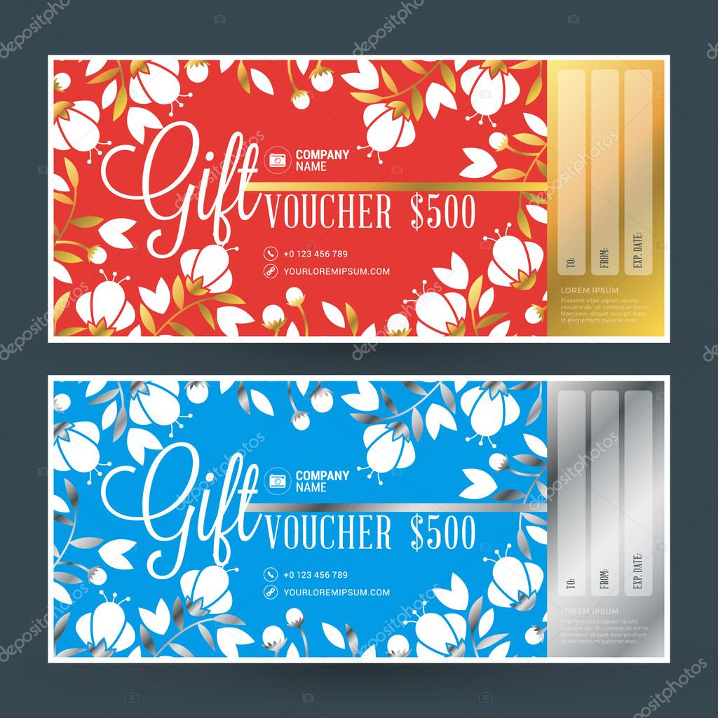 golden and silver gift voucher vector design print template gift