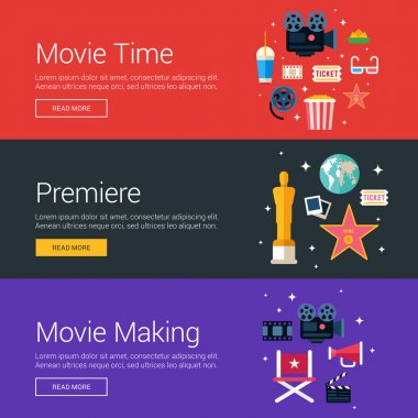 Movie Time. Premiere. Movie Making. Flat Design Vector Illustration Concepts for Web Banners and Promotional Materials