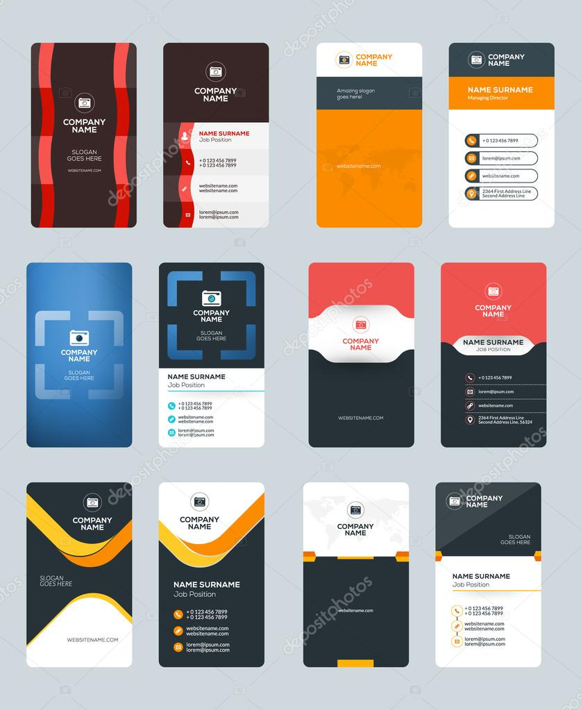 set of creative and clean vertical business card print templates