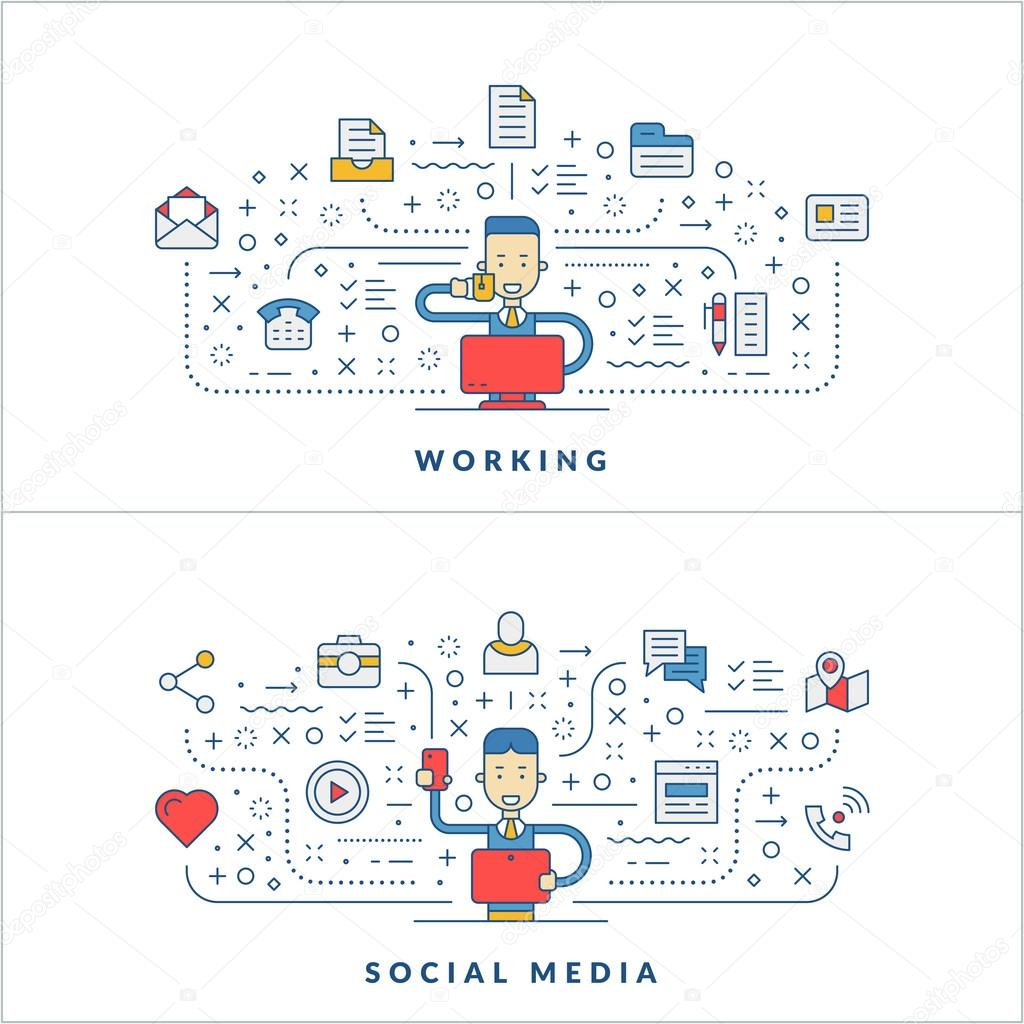 working social media flat line icons and businessman cartoon