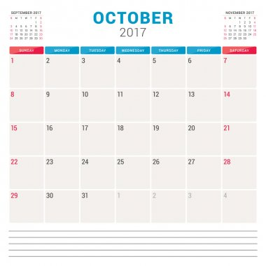 Calendar Planner for 2017 Year. Vector Design Template with Place for Notes. 3 Months on Page. Week Starts Sunday. Stationery Design. October 2017