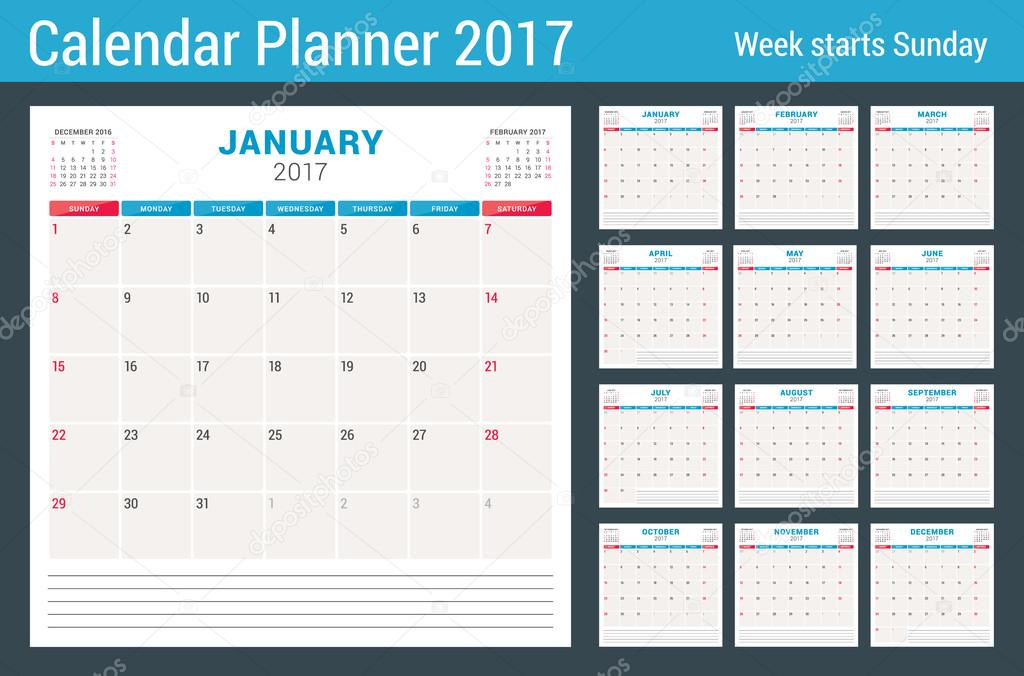 calendar planner for 2017 year vector design template with place