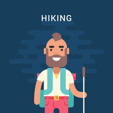 Hiking Concept. Smiling, Bearded Young Man with Backpack and Stick for Hiking