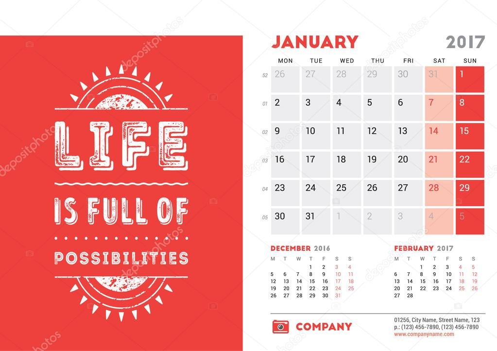 Desk Calendar Template For 2017 Year. January. Design Template With  Motivational Quote. 3 Months On Page. Week Starts Monday.