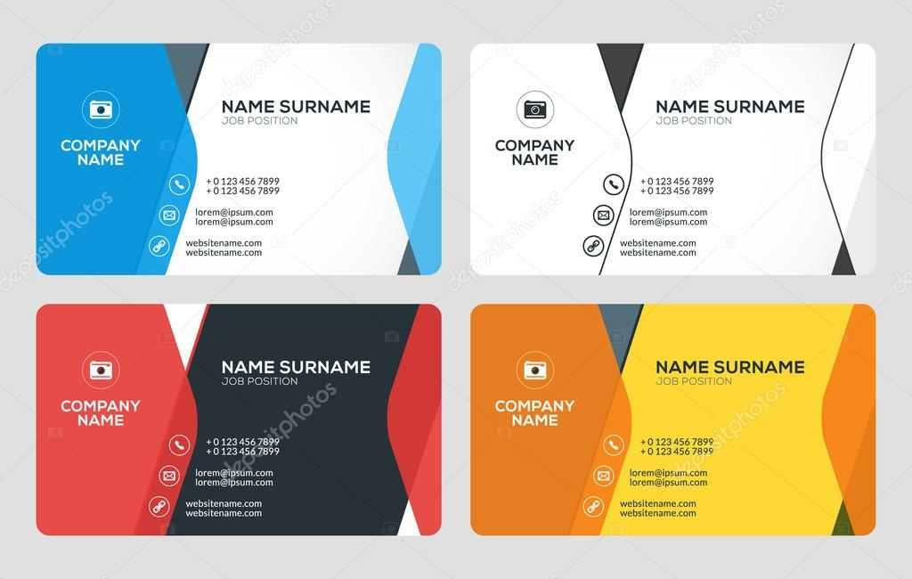 Creative business card template flat design vector illustration creative business card template flat design vector illustration stationery design 4 color combinations colourmoves Choice Image