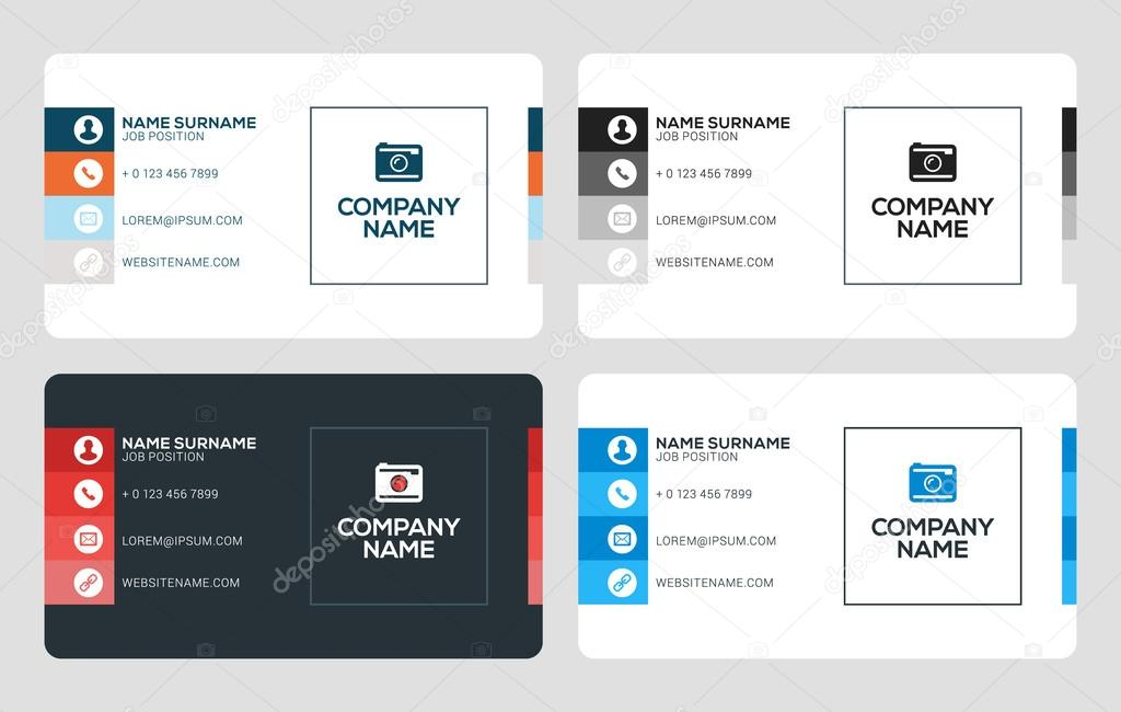 Creative Business Card Template. Flat Design Vector Illustration ...