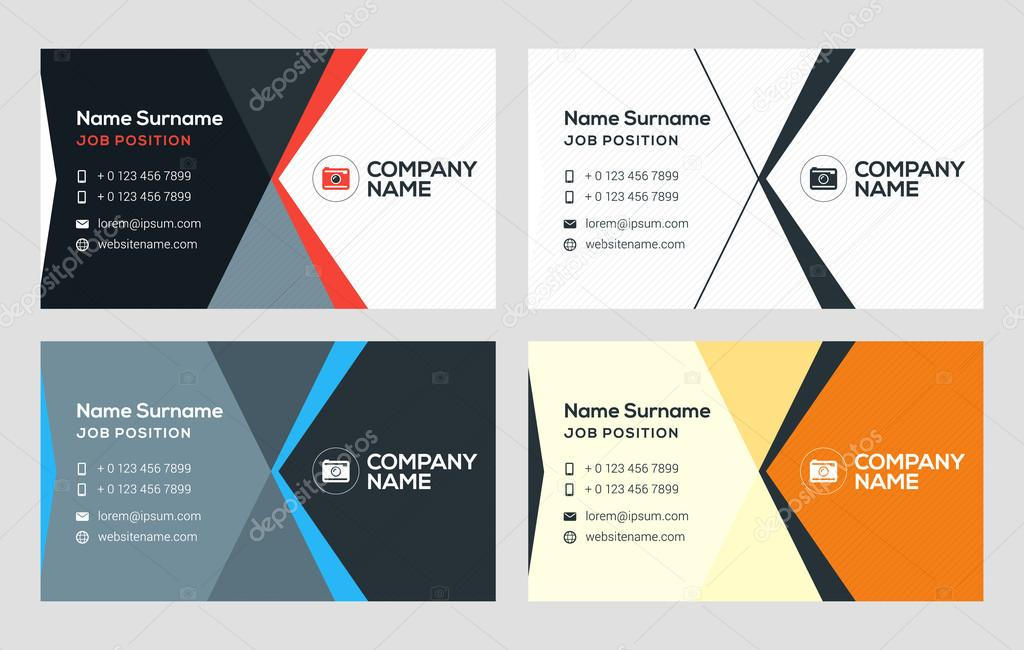 Creative business card template flat design vector illustration creative business card template flat design vector illustration stationery design 4 color combinations reheart Choice Image