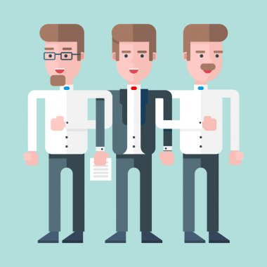 Three persons stand together as a team. Flat vector illustration
