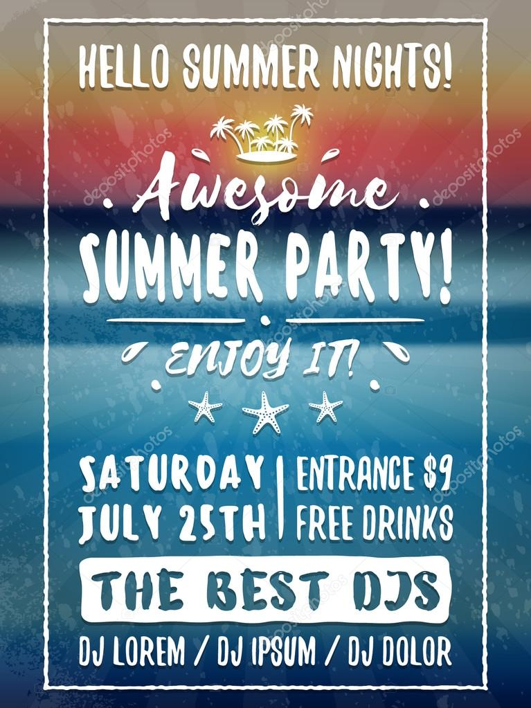 Beach Party Flyer Or Poster Night Club Event Vector Image By C Antartstock Vector Stock 109082238
