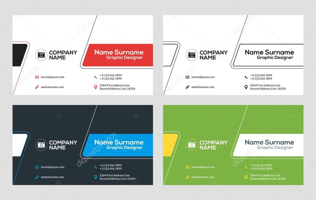 Business card vector template flat style vector illustration business card vector template flat style vector illustration stationery design 4 color combinations reheart Choice Image
